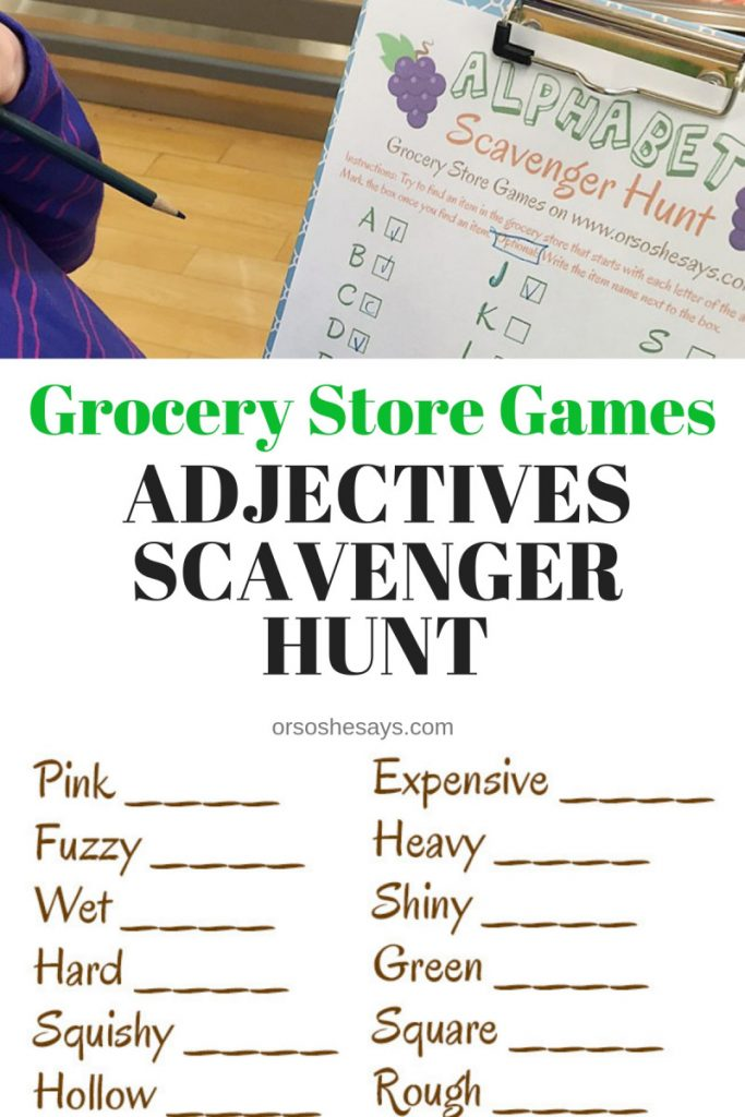 Grocery Store Games on 'Or so she says...'! This is such a fun series and a great way to keep the kiddos happy, and occupied during your grocery shopping trip! www.orsoshesays.com #games #scavengerhunt