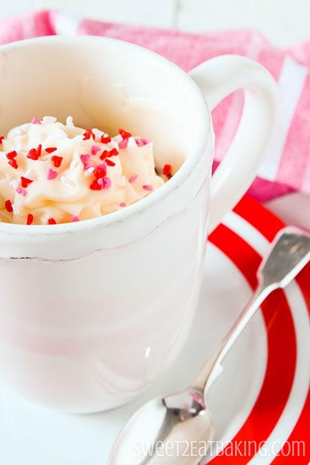 Valentine's Red Velvet Mug Cake by Sweet2EatBaking.com