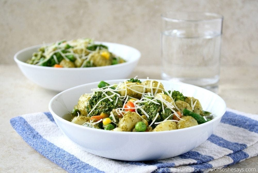 Creamy Pesto Gnocchi recipe - Filled with fresh vegetables and loads of flavor!