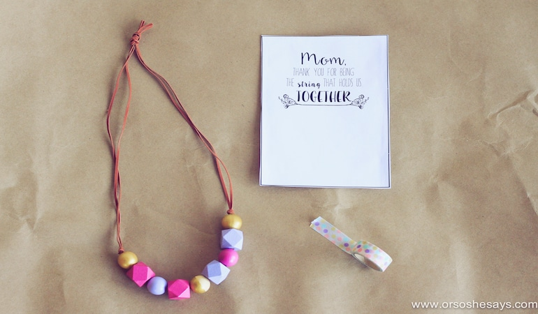 Or So She Says- This Mother's Day Necklace idea is the perfect gift for any woman in your life! Make one with the kids today!