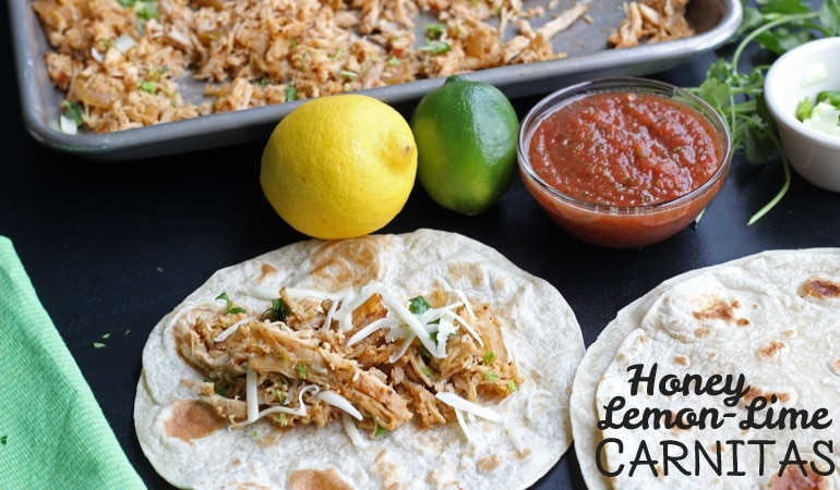 Get the fresh, citrus flavors of summer on your family's plates with Leesh & Lu's Honey Lemon Lime Carnitas! Find the recipe on www.orsoshesays.com today.