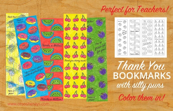 Printable Thank You bookmarks