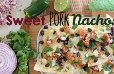 Sweet Pork Nachos baked in the oven is a fun twist on a family favorite - there's just something about scooping up the goodness with a chip that makes this so much fun to eat!