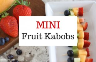 Summer fruit is in season and it is the perfect snack for kids. Get them excited about eating healthy and make some mini fruit kabobs together. www.orsoshesays.com #recipes #summer #healthy #fruitkabobs