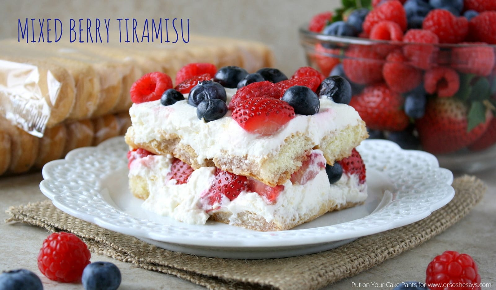 Mixed Berry Tiramisu is a fresh, summery take on a classic. See the recipe at www.orsoshesays.com.