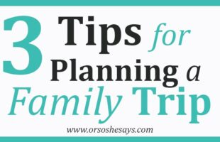3 Tips for Planning a Family Trip This School Break. See the list at www.orsoshesays.com.