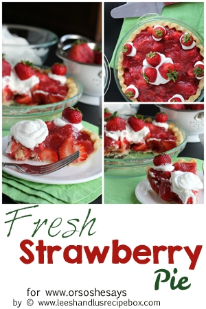 This fresh strawberry pie is just waiting to be the star at your next barbecue! It is fresh and cool, and the perfect dessert to beat the heat. With strawberries in season right now, there is no better time to make it!