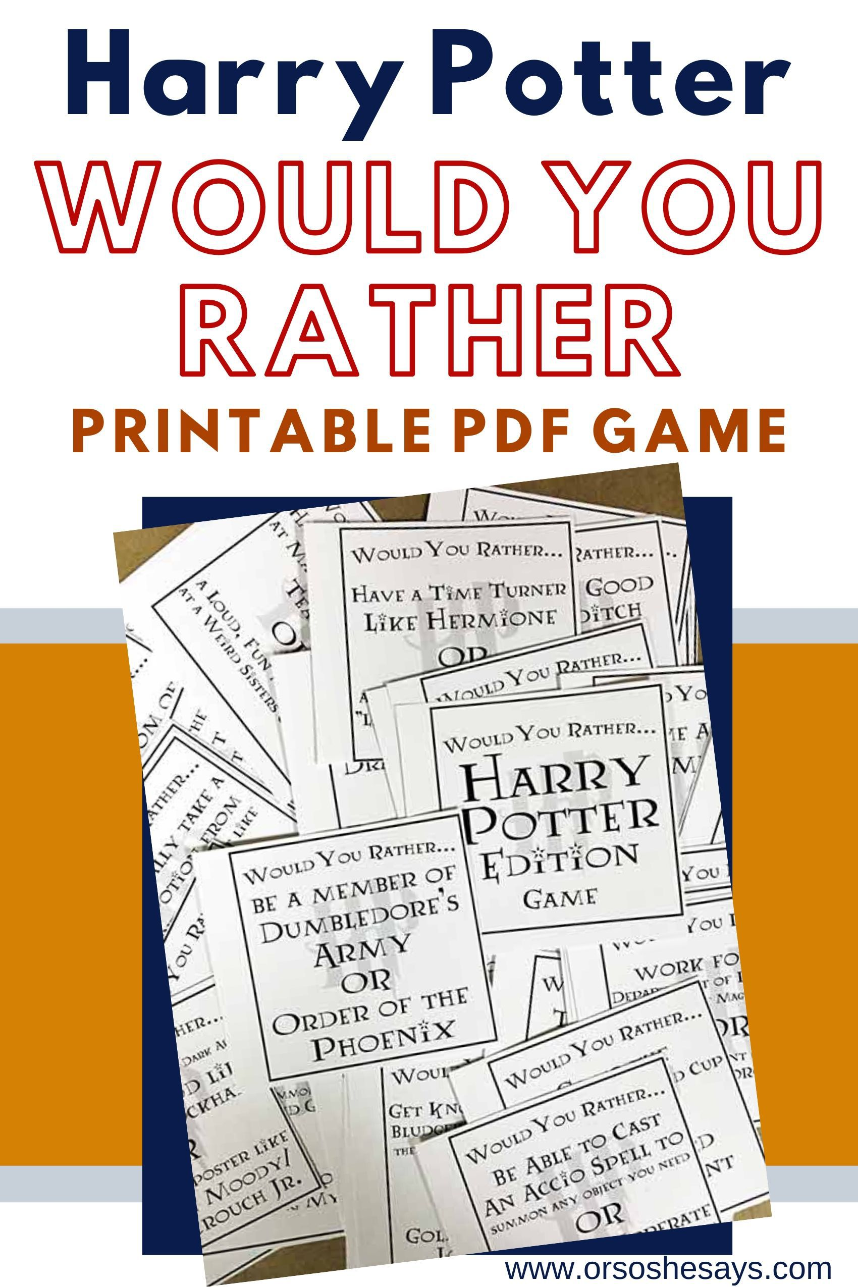Harry Potter Would You Rather Printable Pdf Game