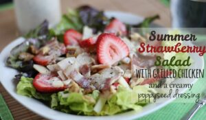 Strawberry Salad – Paired with Grilled Chicken, Bacon and a Creamy Poppyseed Dressing (she: Leesh & Lu)