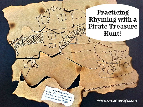 Practicing Rhyming with a Pirate Treasure Hunt! This is a fun way to teach rhyming to young children. Find the activity on www.orsoshesays.com.