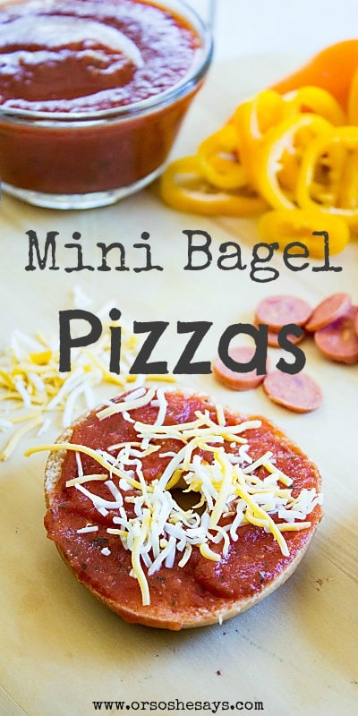 Mini bagel pizzas are a really fun way to serve up a meal the family may otherwise be getting tired of. Try this version of pizza in the toaster oven, too, to keep that extra heat to a minimum in the kitchen this summer!