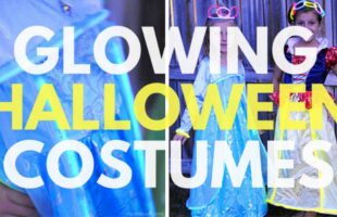 Glowing Halloween Costumes are a great way to add a little extra safety to a spooky night! See how you can transform an existing dress-up into something glowy in today's post. www.orsoshesays.com #halloween #disneyland #disney #princesscostume #glowingcostume