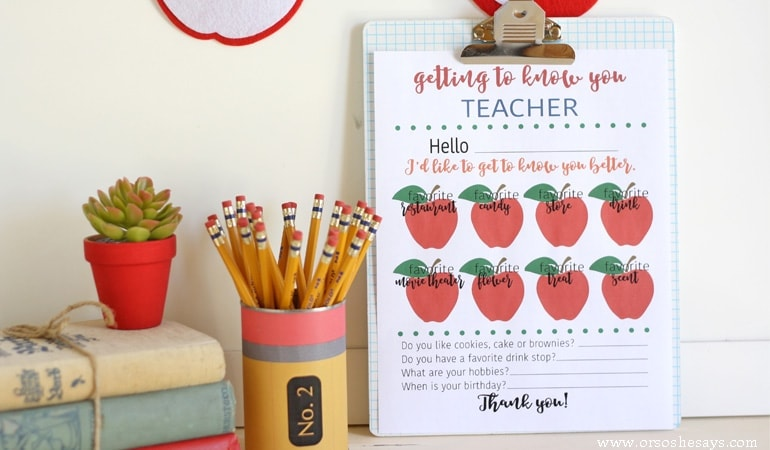 Get to know what your kids' teachers really want for teacher appreciation with this free printable getting to know you teacher survey