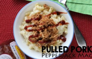 Try this Pulled Pork Pepperjack Mac and you'll never go back! It's a great combination of flavors and also a wonderful way to use leftovers. Get the recipe at www.orsoshesays.com.