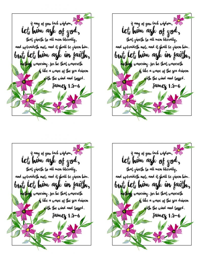 Wisdom Scriptures - Rachel created a beautiful scripture printable so you can see a constant reminder from James that we all need to seek wisdom. Check it out on www.orsoshesays.com today!