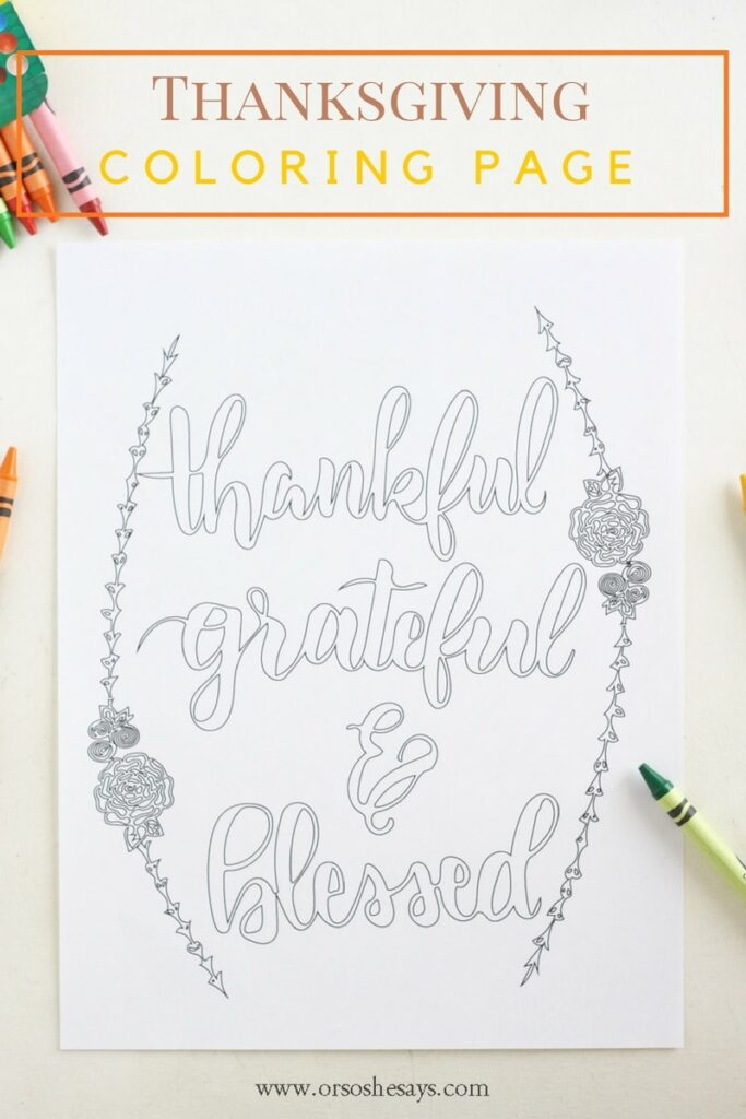 Let the kids color this beautiful free printable thankful coloring page to display during the holiday. It's a great reminder of the reason for the season.