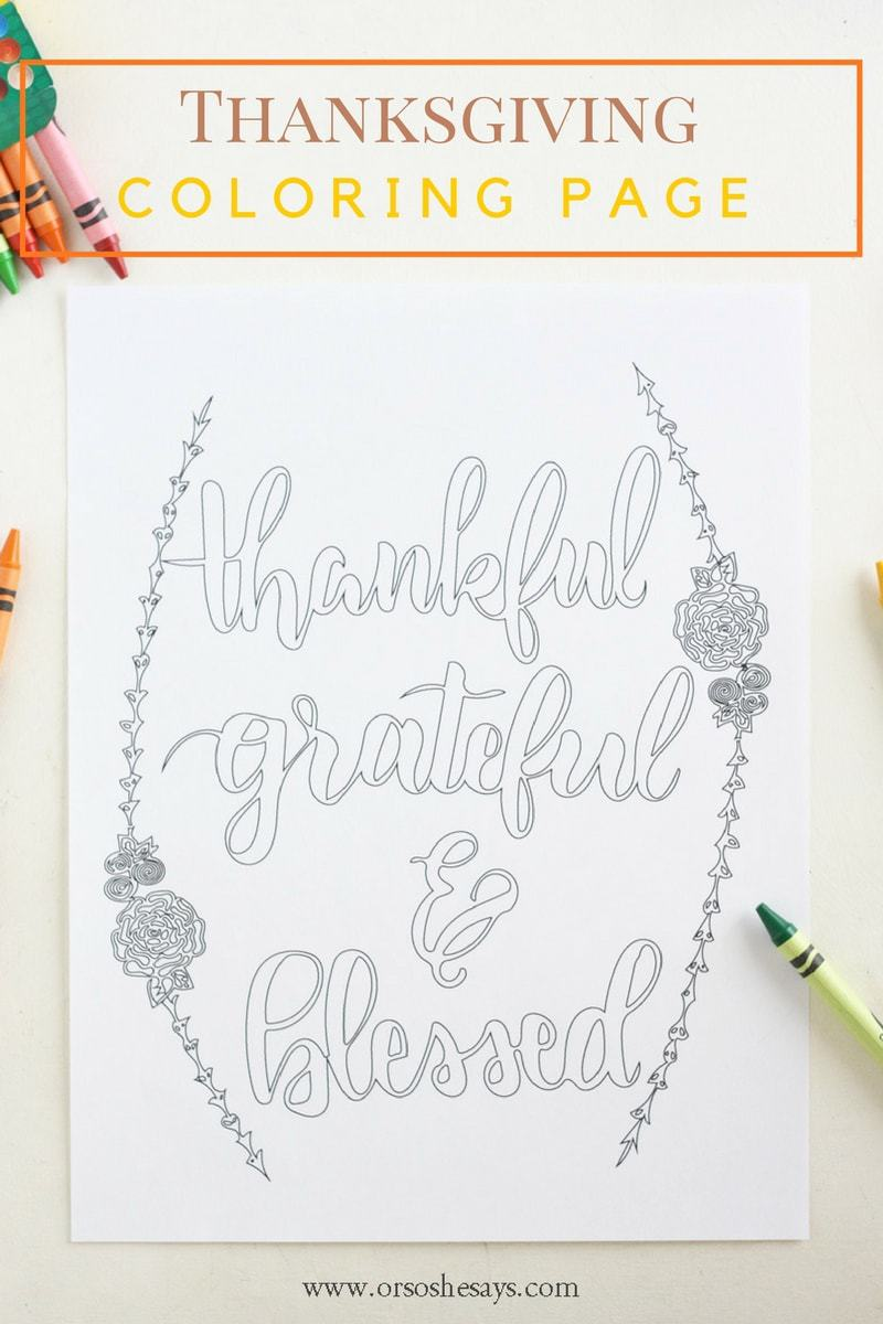 Free Printable Thankful Coloring Page ~ Perfect for Thanksgiving ...