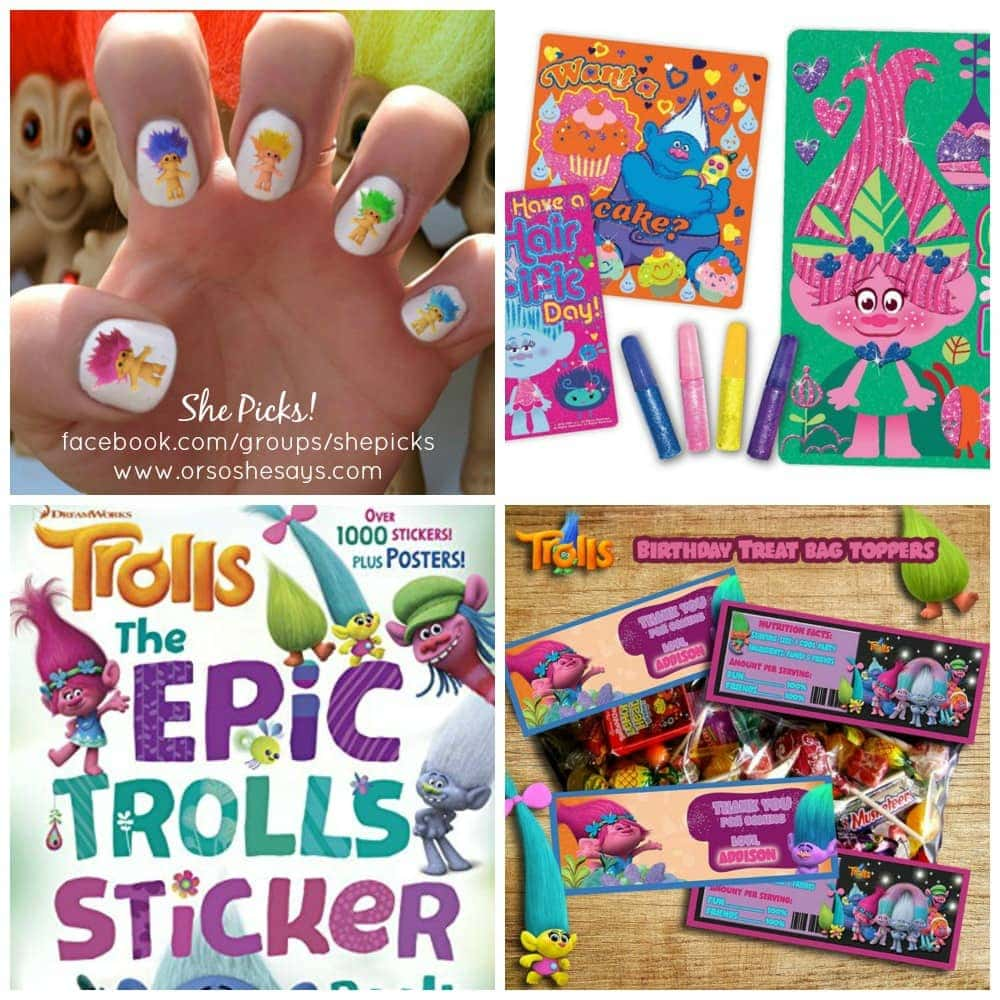 These are such fun finds and so PERFECT for celebrating the Trolls movie. Awesome party printables and gift ideas!! She Picks! on www.orsoshesays.com