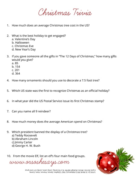 photo regarding Christmas Movie Trivia Printable called Xmas Trivia Quiz ~ Totally free Printable (she: Rachel)