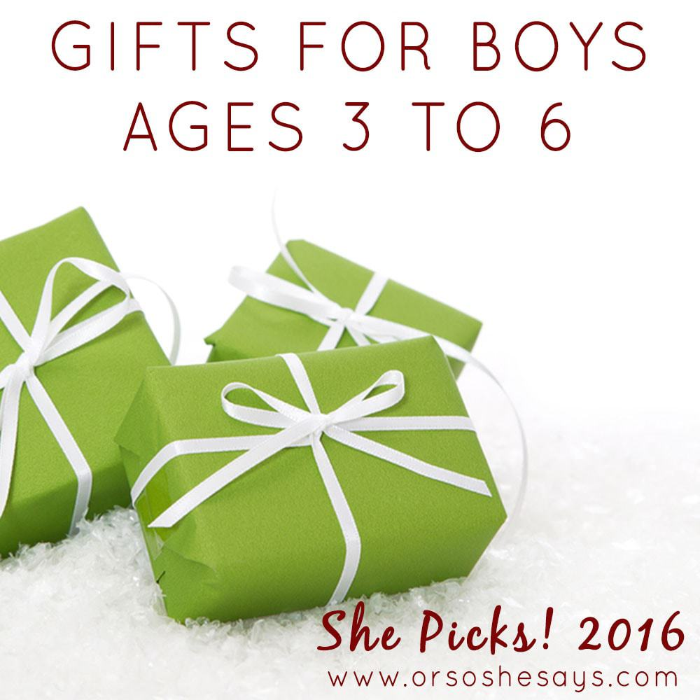 Gifts for Boys, ages 3 to 6 ~ She Picks! 2016