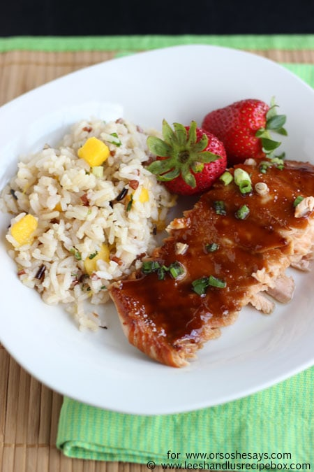 Salty and sweet, this miso glazed salmon is a simple but fancy-tasting meal the whole family can enjoy. Get the recipe on www.orsoshesays.com.
