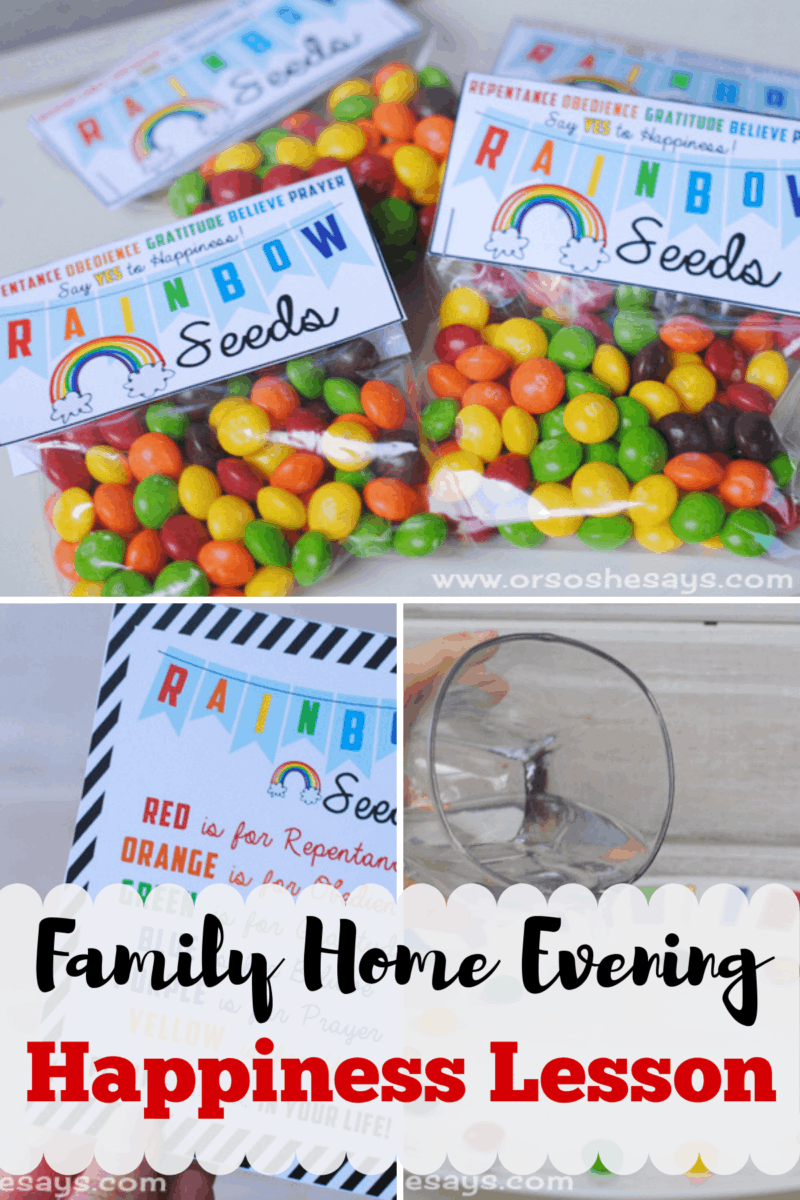 This is such a cute Family Home Evening and a great lesson for St. Patrick's Day. Put together packets of rainbow sees to talk about planting happiness, and a complete lesson is ready for you too!