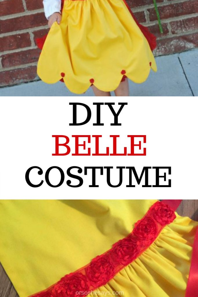 Just in time for the Beauty and the Beast release, Adelle is here to share a DIY Belle costume! Get the step-by-step instructions on www.orsoshesays.com. #belle #beautyandthebeast #DIYcostume #bellecostume #dressup #halloween #disney