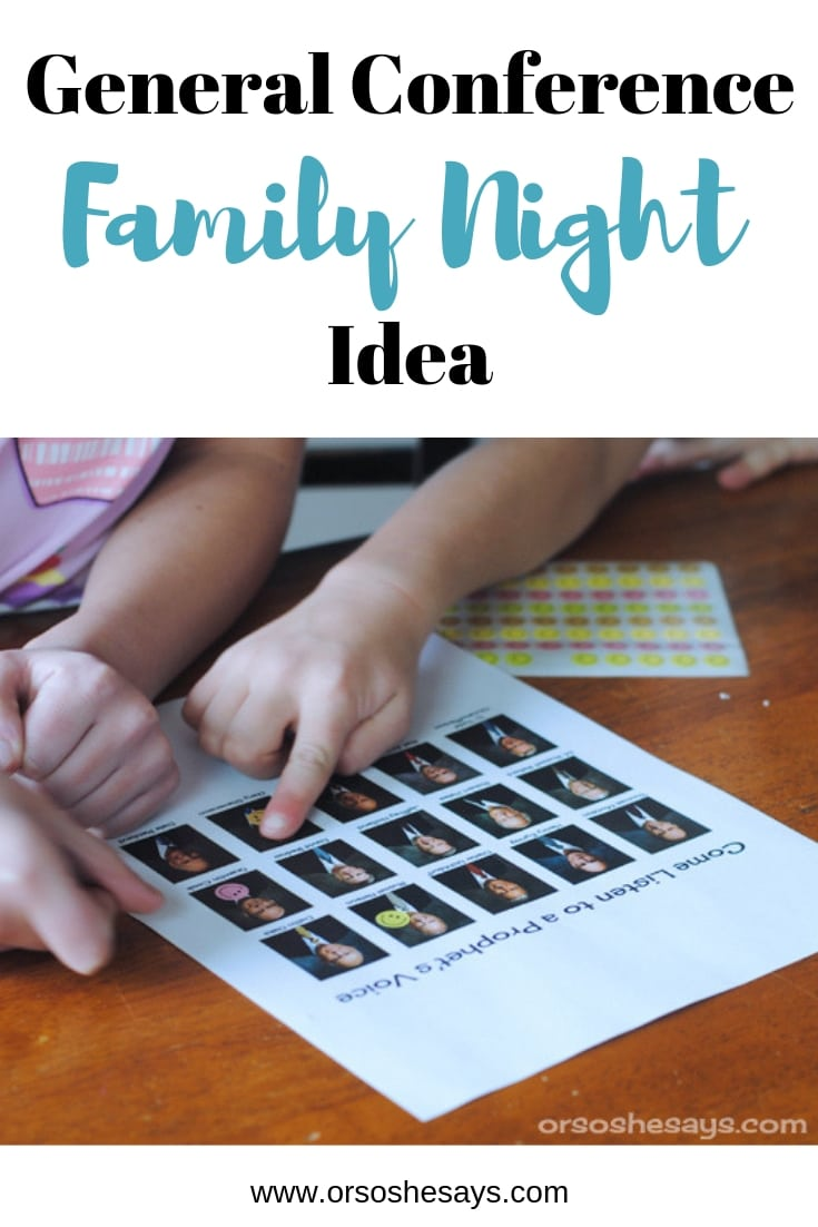 Use this General Conference family night idea to get everyone ready for the weekend! #LDSGenConf #LDS #GeneralConference #conference www.orsoshesays.com