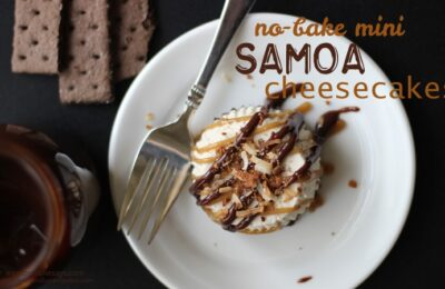 No Bake Cheesecake - Mini Samoas You Can Make Ahead! Get the recipe on www.orsoshesays.com.