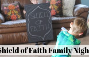 Shield of Faith Family Night Lesson - using nerf guns! www.orsoshesays.com #familynight #FHE #nerf #faith #familyfun