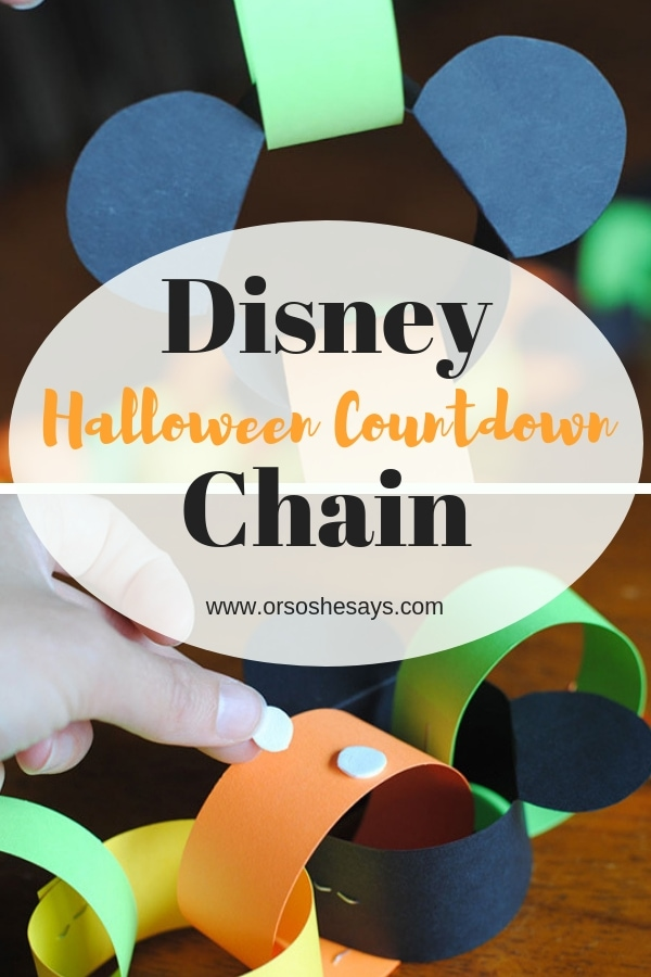 This Disney Halloween Countdown Chain is so easy it is scary! Get ready for the perfect way to countdown to your not-so-spooky Disneyland vacation. If you're not heading to the parks during Halloween Time, you can still use this Halloween countdown just to count the days till Halloween in your very own neighborhood. #halloween #halloweentime #halloweencountdown #daystillhalloween #disneycountdown #disneyworldcountdown #disney #disneyland #disneyworld #ldsblogger #mormonblogger #lds #mormon #countdown www.orsoshesays.com