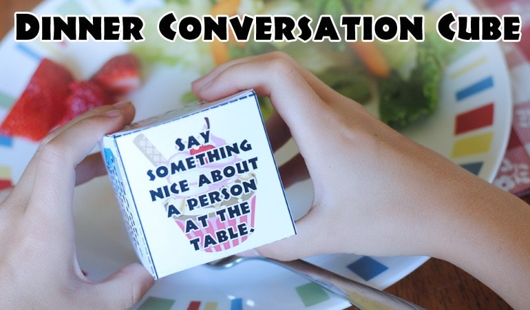 I love this! Printable Conversation Cube for family dinner