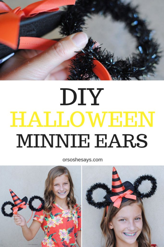 You too can transform your own witch headband into Halloween Minnie Ears at home in just 10 minutes! www.orsoshesays.com #halloween #minniemouse #minnieears #mouseears #costume #diy