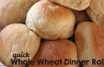 These quick dinner rolls cut out the first rise on the dough and are ready in under an hour. Get the recipe at www.orsoshesays.com.