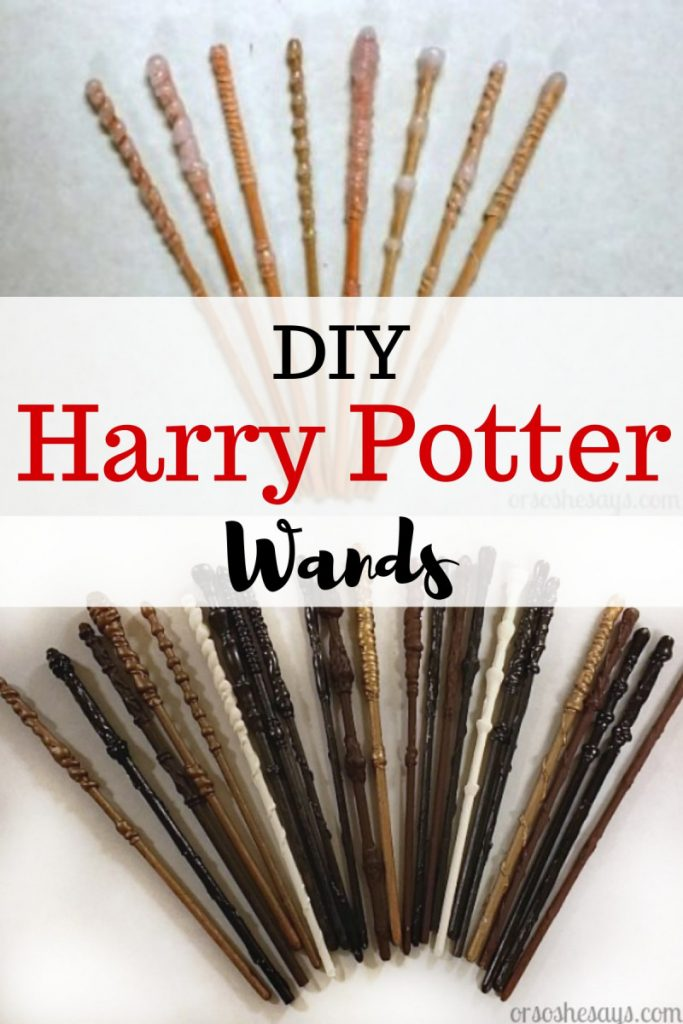 Make your own Harry Potter wands with the kids! Get the how-to on the blog: www.orsoshesays.com #harrypotter #wands #diy #harrypotterwands #homemadewands