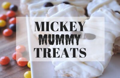 One of my favorite Halloween Time treats is the Mickey Mummy Crispy Treats. They are a seasonal treat offered during Halloween Time and can be found at the Candy Palace in Disneyland. Luckily, you can make a batch right at home with this copycat recipe, even if you aren't planning on attending the frightful fun. www.orsoshesays.com #mickeymouse #mickeytreats #mummy #halloween #recipe #ricekrispytreats #snacks