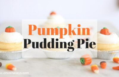 This pumpkin pudding pie is a silky smooth dessert that will be a fun addition to any of your festive holiday gatherings. Get the recipe on www.orsoshesays.com. #pumpkinpie #pumpkinpudding #pumpkinpuddingpie #dessert #thanksgiving #autumn #fall #recipe