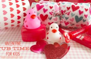 Kids of all ages will love a Valentine tub night! Set the mood with music, candles (maybe flameless?), and heart-themed tub toys and scrubbies! Get the free playlist and other ideas on the blog: www.orsoshesays.com #valentines #valentinesday