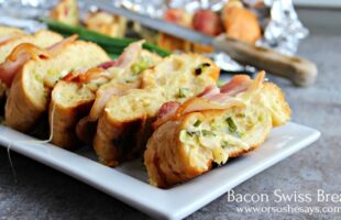 Bacon and cheese and carbs... What could be better than this Bacon Swiss Bread that brings all three together?! Get it today on the blog: www.orsoshesays.com
