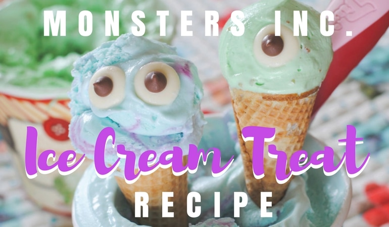 "If you love Monsters Inc. as much as I do, then this treat will make you ""scream"" for ice cream! Keep reading to find out how to make this delicious Monsters, Inc. Ice Cream Treat for your little monsters. www.orsoshesays.com #OSSS #MonstersInc #Monsters #Disney #IceCream #Dessert #recipe #DessertRecipe #DisneyRecipe #LDSBlogger #LDS #MormonBlogger #Mormon #ontheblog #bogger #mikeandsully #sully #mikewazowski"