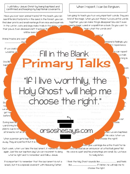 Help your child present a quality talk about Baptism and the Holy Ghost with one of these four unique printable LDS Primary Talk templates. #LDSPrimaryTalks #LDS #Primary #talks #LDSBlogger #primarytalk #primaryprintable #baptism #sacrament #holyghost www.orshesoshesays.com