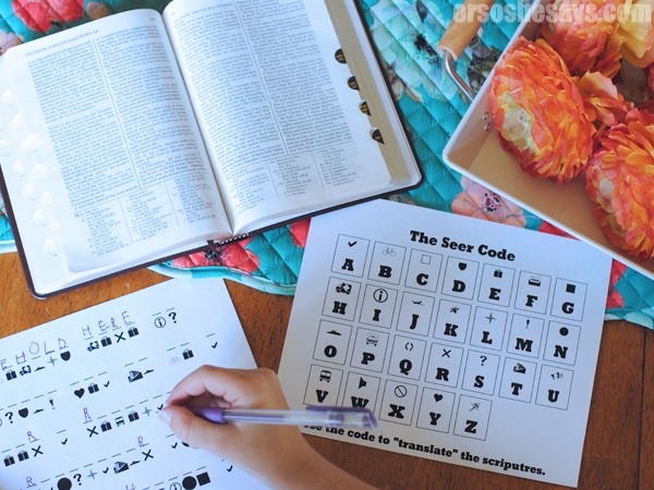 Your family can translate these coded scriptures for kids in this FHE Activity about Seers and the Book of Mormon. www.orsoshesays.com #scripturesforkids #BOM #FHE #FamilyNight #Translate