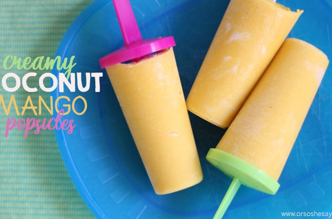 How to Make Homemade Popsicles with a Creamy Twist - Coconut Mango Popsicle Recipe www.orsoshesays.com #homemadepopsicles #recipe #popsiclerecipe #popsicle #icepop #dessert #lactosefree #dairyfree #coconutmilk #yum #LDSblogger #blogger #ontheblog