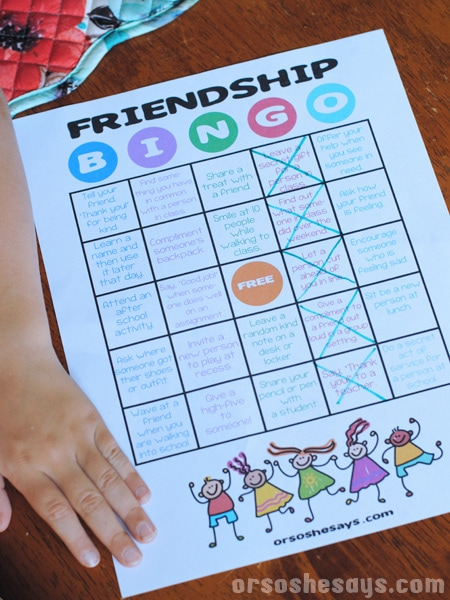 friendship bingo family night activity or so she says