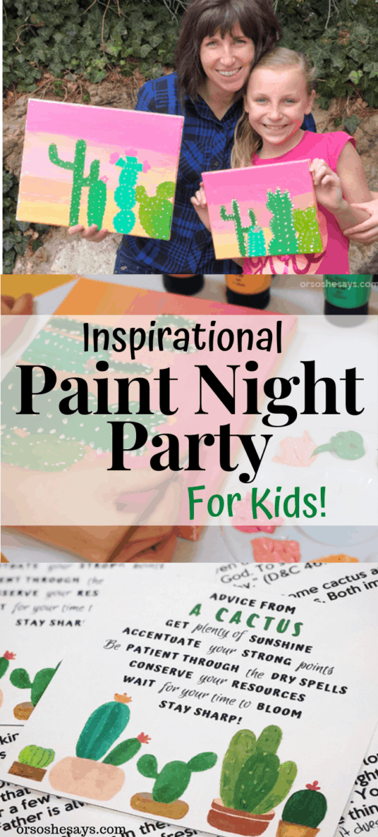 Paint Night Party Plan for Kids! Complete party instructions and plans including an inspirational talk and printable. #OSSS #PaintNight #LDS #ActivityDays #Youth #CraftNight www.orsoshesays.com