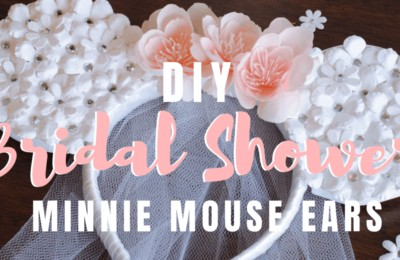 These Bride Minnie Mouse Ears are a perfect choice if you're looking a Disney themed bridal shower idea, or are celebrating your nuptials at the Disneyland Resort. www.orsoshesays.com #bridalshowerideas #bridalshower #brideminniemouseears #brideears #minniemouse #mouseears #DIY #disney #OSSSdoesdisney