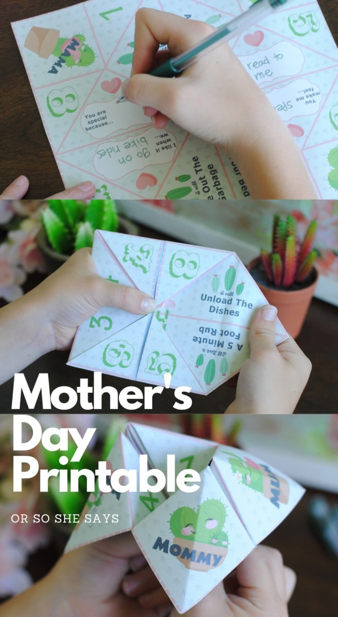 Use this Mother's Day printable to make a fortune teller gift for the special Mom in your life. This is a great activity for a school or church group! Print, fold, and play! #OSSS #MothersDay #Printable #Cactus #LoveNote #MomCraft