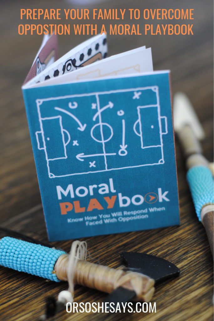 A Moral Playbook to help create an action plan for your family as they face temptation. #OSSS #LDS #Playbook #familynight #FHE www.orsoshesays.com