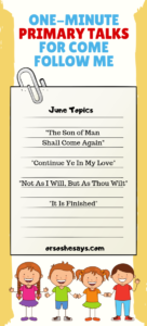 These simple One-Minute Primary Talks make speaking in church a breeze. Let your child pick the theme that best fits their speaking assignment. www.orsoshesays.com #ComeFollowMe #LDS #printable #primary
