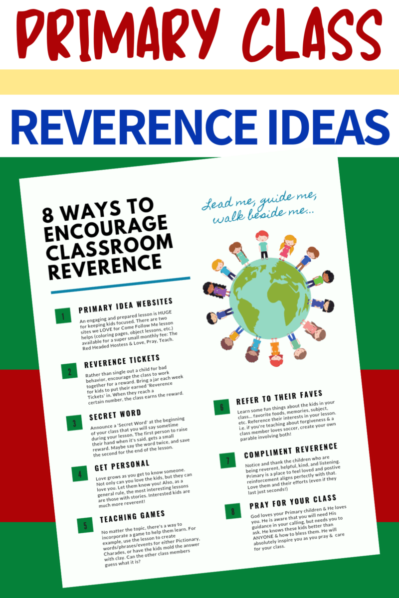 8 Ways to Encourage Primary Class Reverence ~ Free Printable Document www.orsoshesays.com